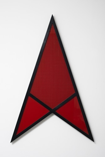 Robert Mapplethorpe  Arrow, 1983  Stamped and signed by the Robert Mapplethorpe Estate  Coloured glass (red), wire mesh and wood,  122 x 79 cms / 48 x 31 ins  Unique