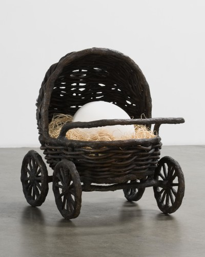 Baby Carriage, 2008 Bronze, porcelain, raffia 91.4 x 106.7 x 76.2 cms / 36 x 42 x 30 ins Edition 3/5