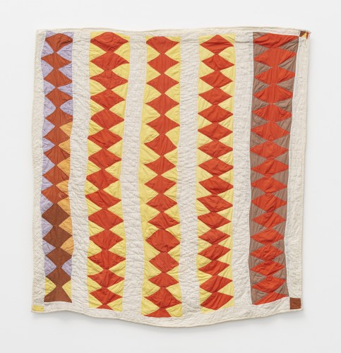 Ethel Young, 'Crosscut Saw' - (quiltmaker's name) - five diamond-pieced rows with bars, c. 1970. Cotton. 182.9 x 177.8 cm, 72 x 70 ins. © Ethel Young