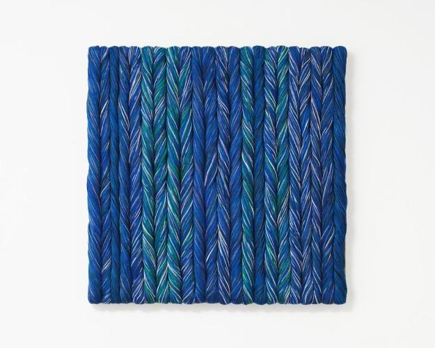Sheila Hicks, Blue, 2017. Linen. 71 x 71cm, 28 x 28 ins. Image: Cristobal Zanartu.