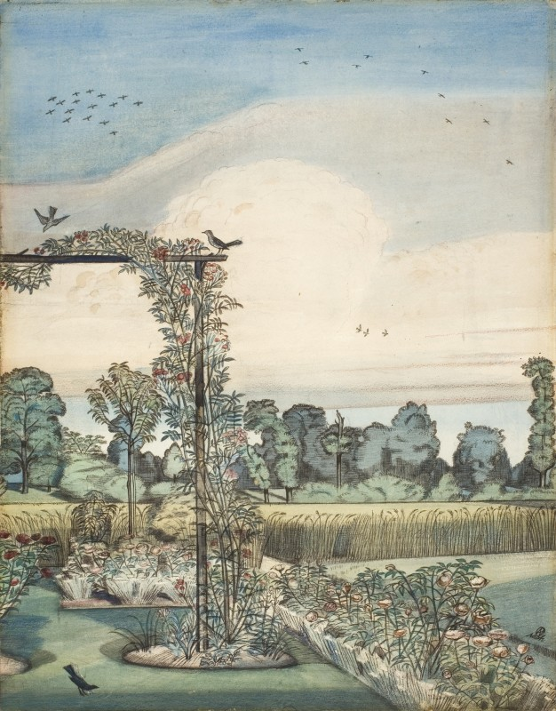 "<span class=""artist""><strong>Paul Nash</strong></span>, <span class=""title""><em>The Garden at Wood Lane House Iver Heath</em>, 1912</span>"