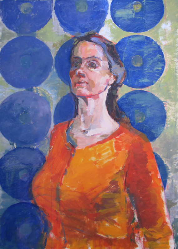 "<span class=""artist""><strong>Eve Pettitt</strong></span>, <span class=""title""><em>Self Portrait in Orange</em>, 2017</span>"