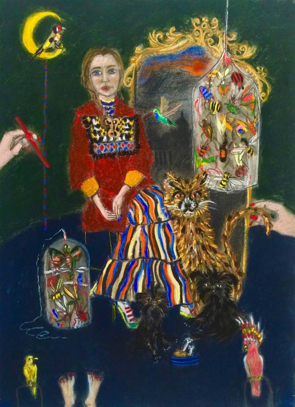 """<span class=""""artist""""><strong>Freya Pocklington</strong></span>, <span class=""""title""""><em>Freya with the Affenpinschers, a cheetah and some birds</em>, 2017</span>"""