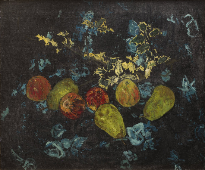 "<span class=""artist""><strong>Jean Cooke</strong></span>, <span class=""title""><em>Apples and Pears and Blue Roses</em>, 1960, c.</span>"