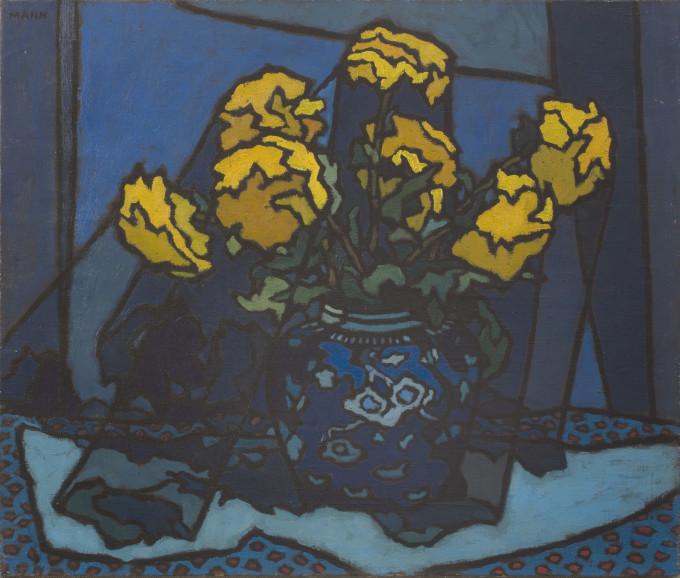 Dahlias in Blue Vase