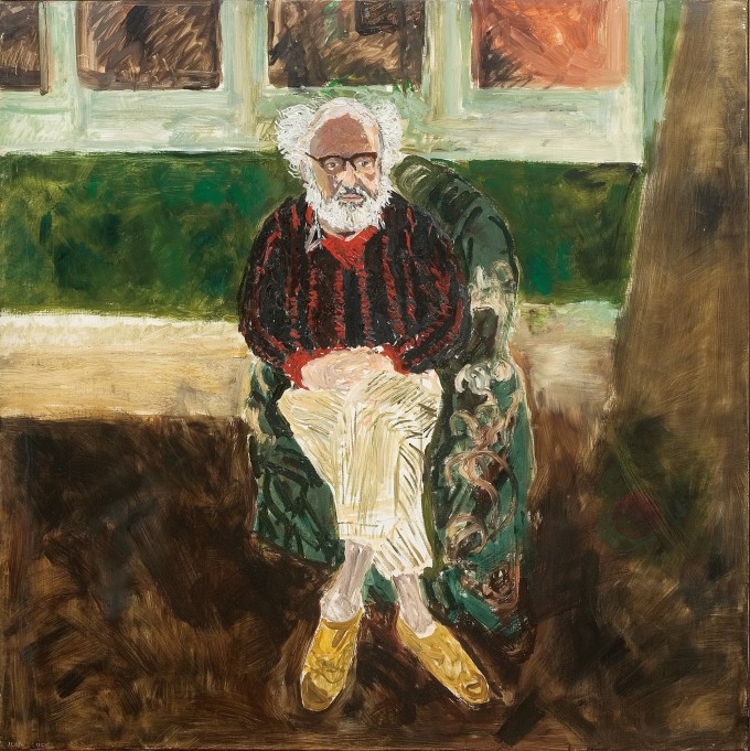 """<span class=""""artist""""><strong>Jean Cooke</strong></span>, <span class=""""title""""><em>Portrait of John Bratby Seated</em>, c. 1970</span>"""
