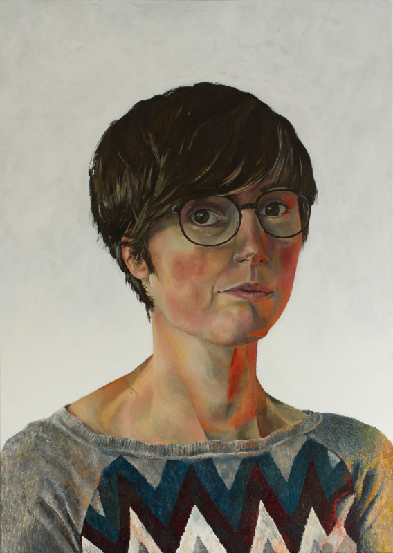 "<span class=""artist""><strong>Alexandra Gould</strong></span>, <span class=""title""><em>Self Portrait with Glasses</em>, 2017</span>"