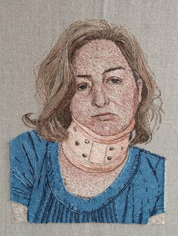 "<span class=""artist""><strong>Nettie Rowsell</strong></span>, <span class=""title""><em>Self Portrait Wearing Denim</em>, 2017</span>"
