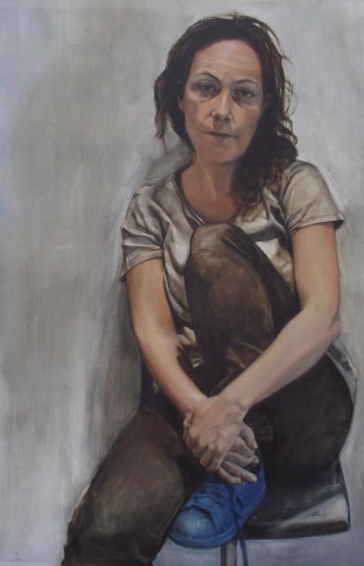 "<span class=""artist""><strong>Samantha Fellows</strong></span>, <span class=""title""><em>Self-Portrait with Blue Trainer</em>, 2017</span>"
