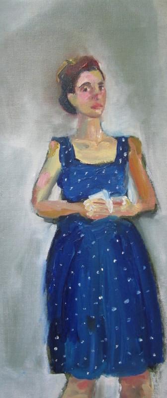 "<span class=""artist""><strong>Anna Rumsby</strong></span>, <span class=""title""><em>Self Portrait in a Blue Dress</em>, 2016</span>"