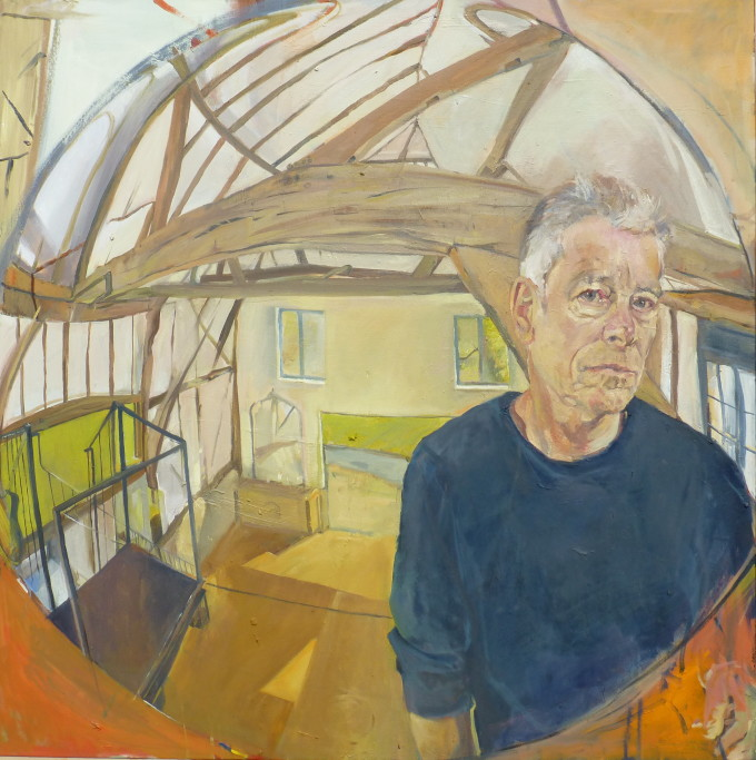 "<span class=""artist""><strong>Peter McNiven</strong></span>, <span class=""title""><em>Self Portrait in the Barn (convex mirror)</em>, 2017</span>"