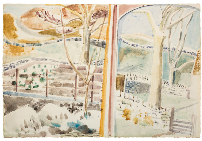 "<span class=""artist""><strong>Paul Nash</strong></span>, <span class=""title""><em>The Landscape Through the Window and Through the Looking Glass</em>, 1945</span>"
