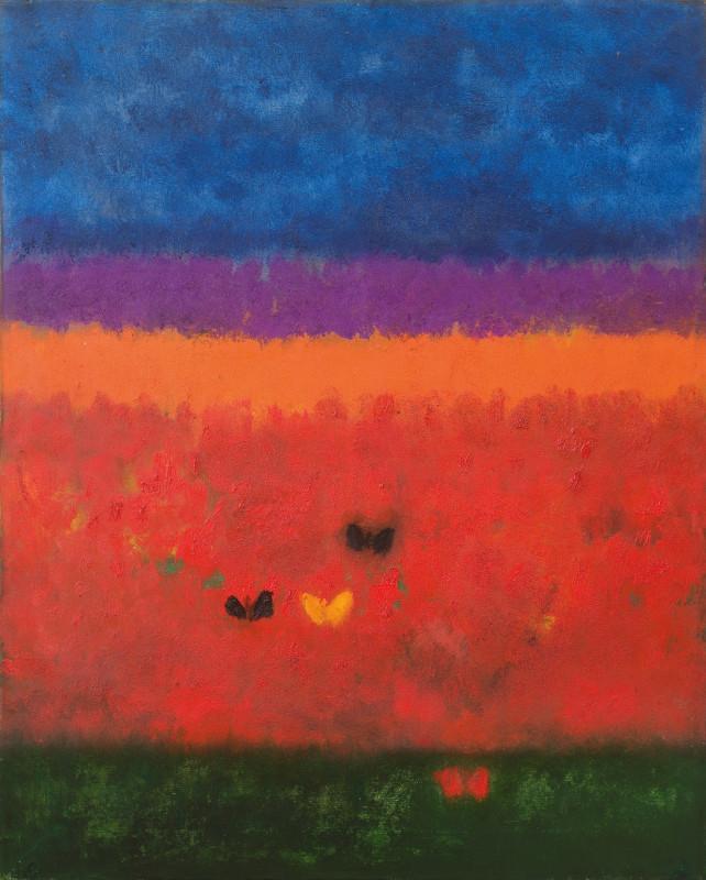 """<span class=""""artist""""><strong>Craigie Aitchison</strong></span>, <span class=""""title""""><em>Butterflies in a Landscape</em>, 1956</span>"""