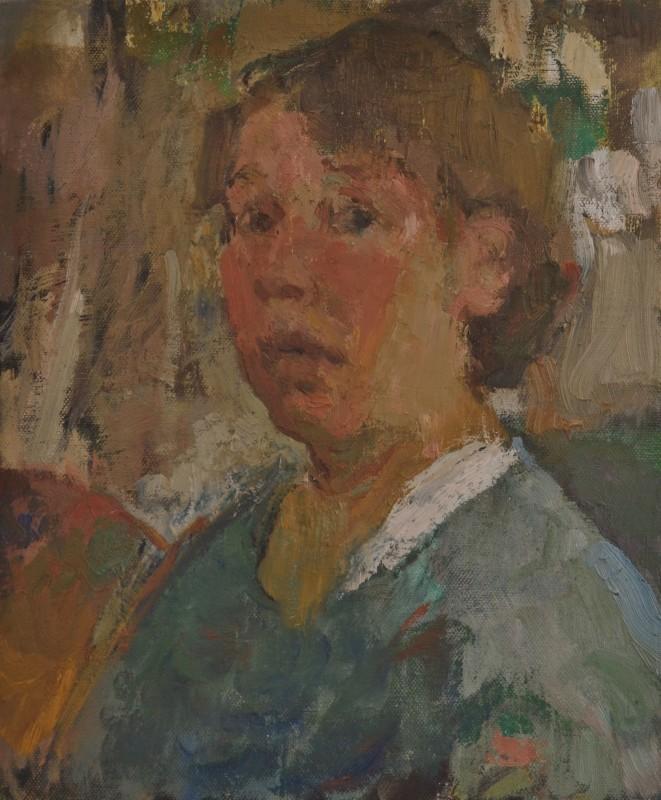"<span class=""artist""><strong>Julia Hawkins</strong></span>, <span class=""title""><em>Self Portrait with Palette</em>, 2017</span>"