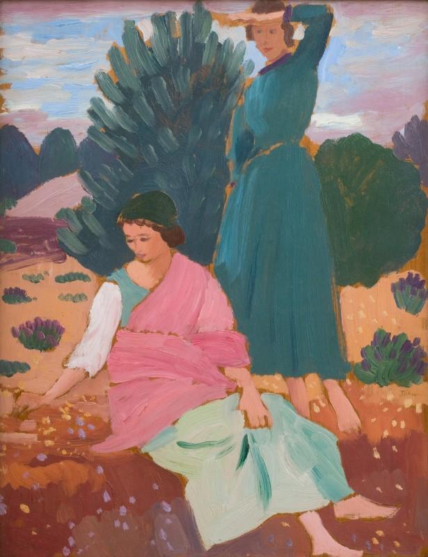 "<span class=""artist""><strong>Augustus John</strong></span>, <span class=""title""><em>Two Women in a Mediterranean Landscape</em>, 1913 c.</span>"