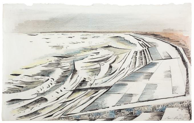"<span class=""artist""><strong>Paul Nash</strong></span>, <span class=""title""><em>The Shore</em>, 1922</span>"