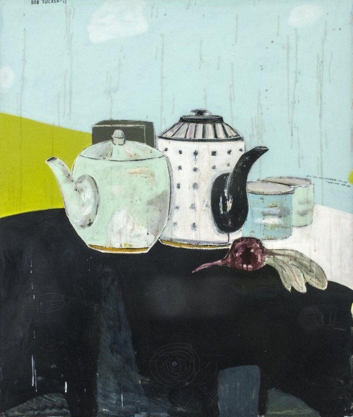 Rob Tucker, a study for a vegetarian still life, monday night style, 2013