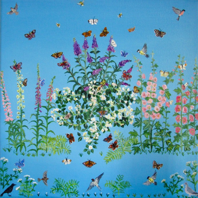 Emma Haworth, Butterflies and foxgloves, 2017