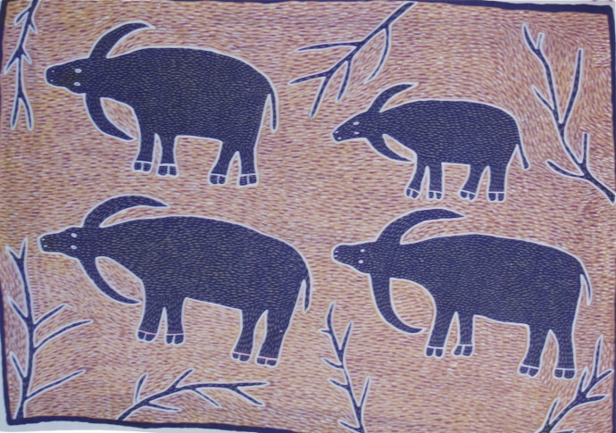 Amy Johnson and Sambo Barra Barra, Four Buffalo , 1995