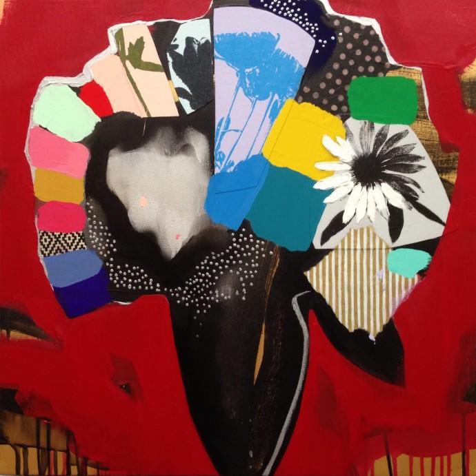 Emily Filler, Vase of Flowers (crimson), 2016