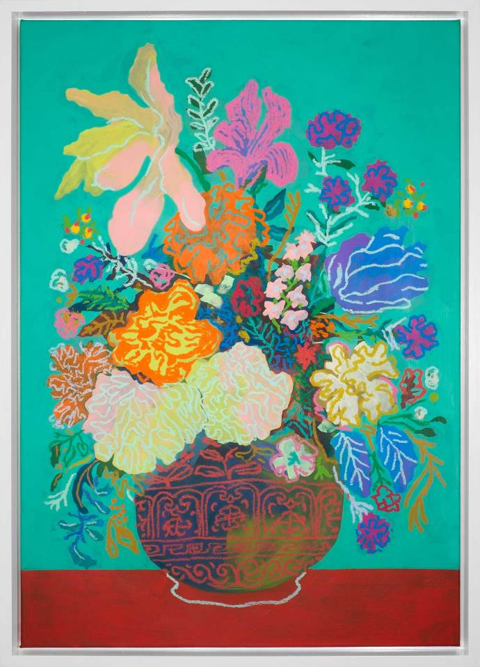 John Holcomb, Teal Floral No 4, 2017