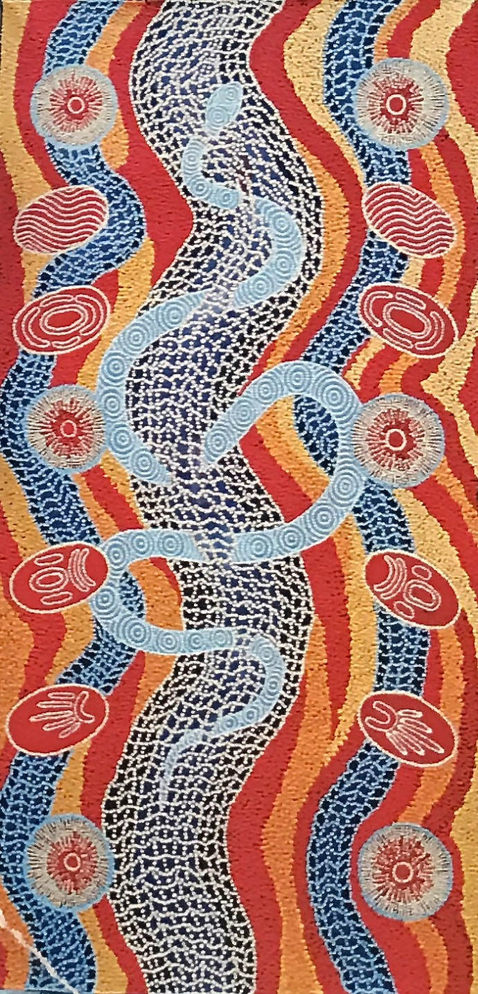 Malcolm Jagamarra, Warna (the black headed python), 2001
