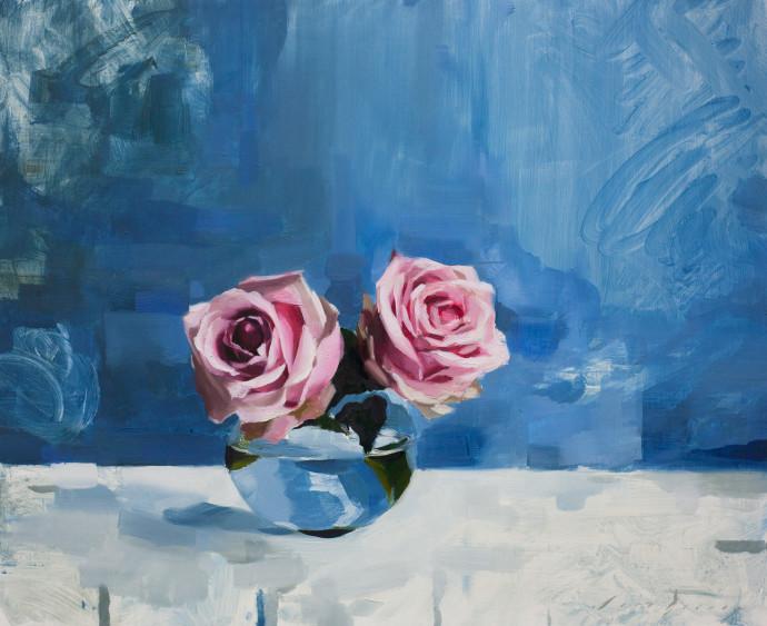 Jon Doran, Pink Roses And Blue, 2017