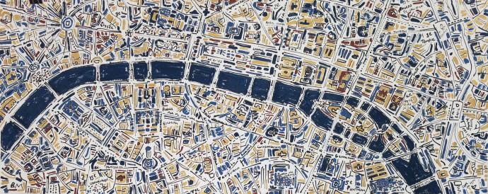Barbara Macfarlane, Paris Gold, French Blue and Terracotta, 2017