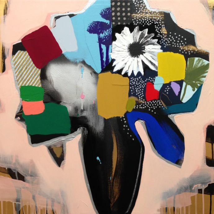 Emily Filler, Vase of Flowers (pale peach), 2016