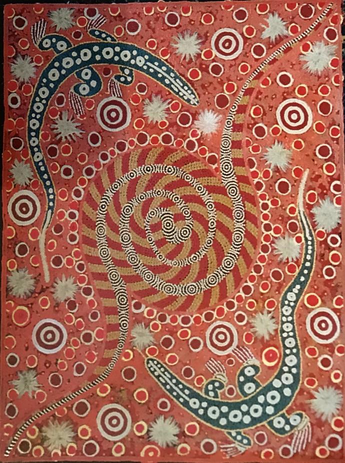 Malcolm Jagamarra, Warna Wardapi (snake and goanna), 2001