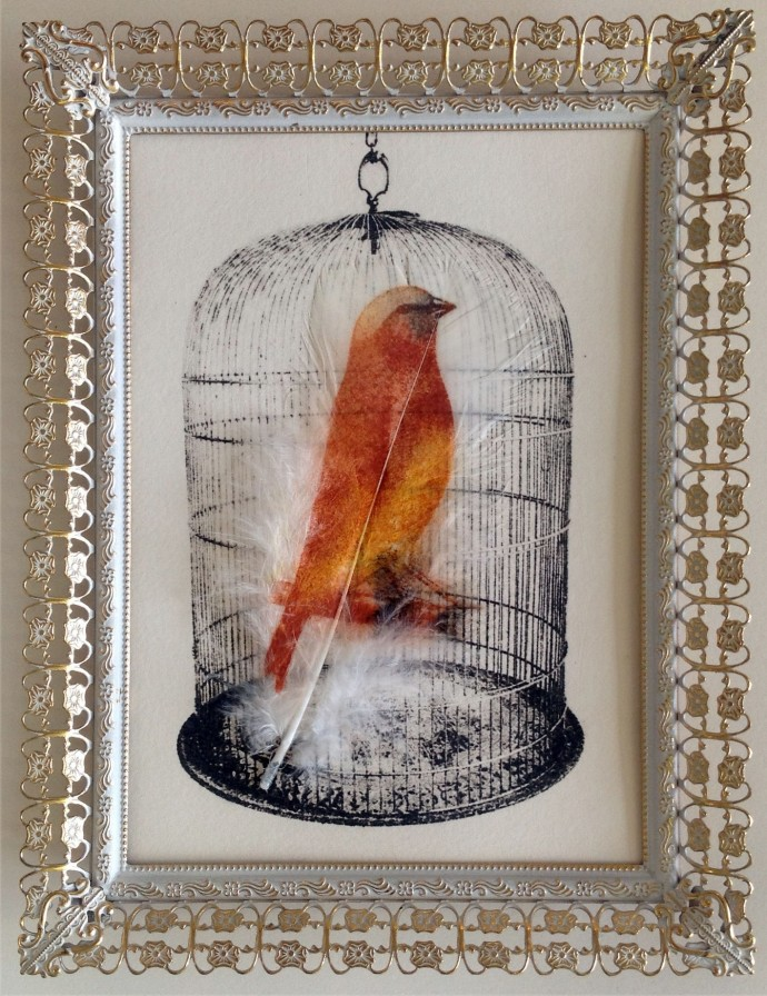 Rebecca Jewell, Bird in Victorian Cage 2 in Vintage Frame, 2014