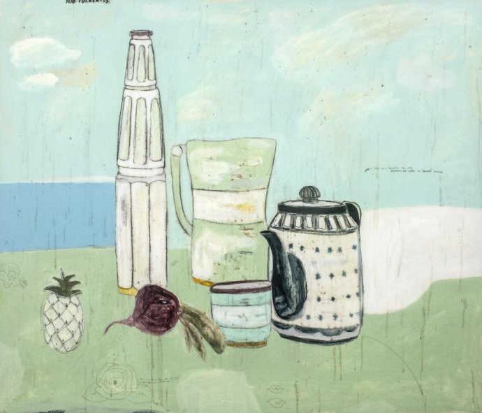 Rob Tucker, A study for a delightful still life, pineapple and cheese on crackers style, 2013