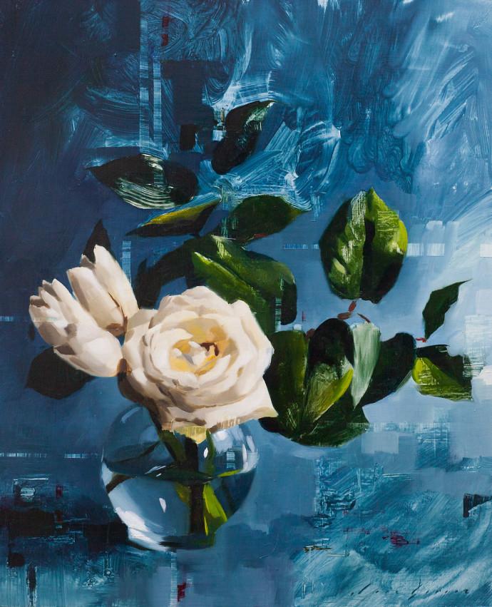 Jon Doran, Tulips and Rose on Blue, 2018