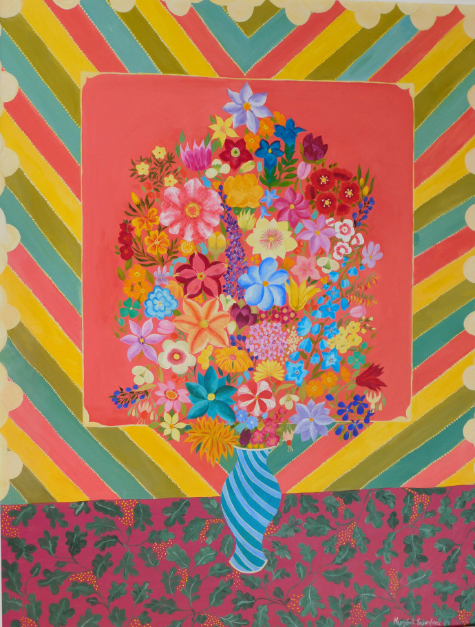 Hepzibah Swinford, Flowers with Stripes, 2016