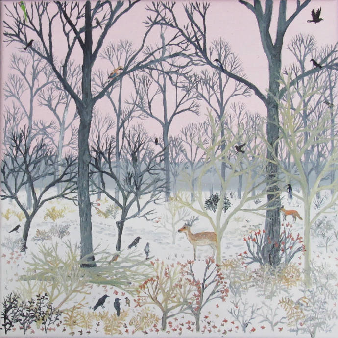 Emma Haworth, Deer and jay pink sky, 2017