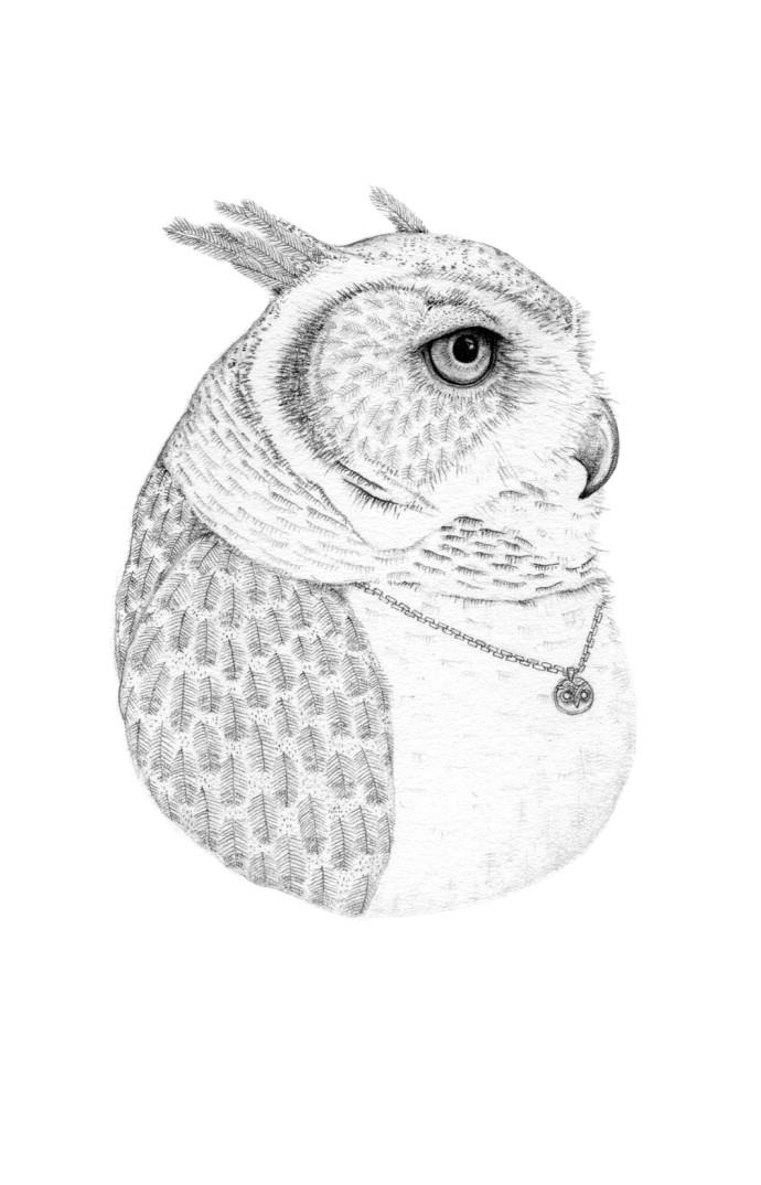 Jackie Case, Owl Wearing An Owl Pendant, 2014