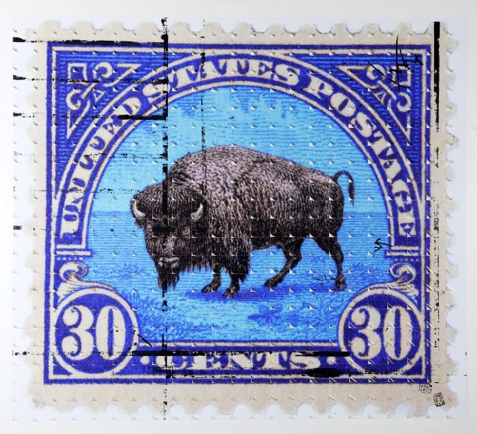 Piers Bourke, Frank the Buffalo (Blue), 2014