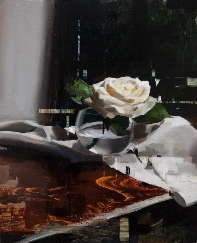 Jon Doran, Rose On Table With Linen, 2018