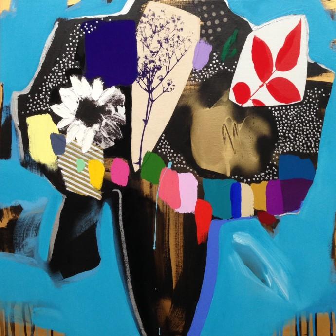 Emily Filler, Vase of Flowers (electric blue), 2016