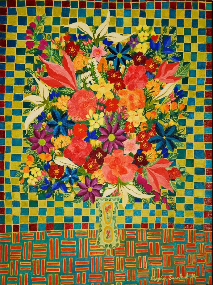 Hepzibah Swinford, Roses on checks, 2014