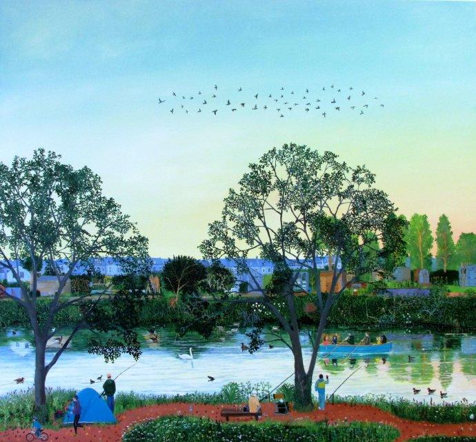 Emma Haworth, Flock of Birds above River Wandle, 2014