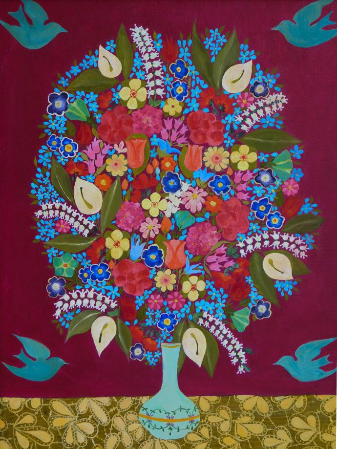 Hepzibah Swinford, Flowers with birds, 2017