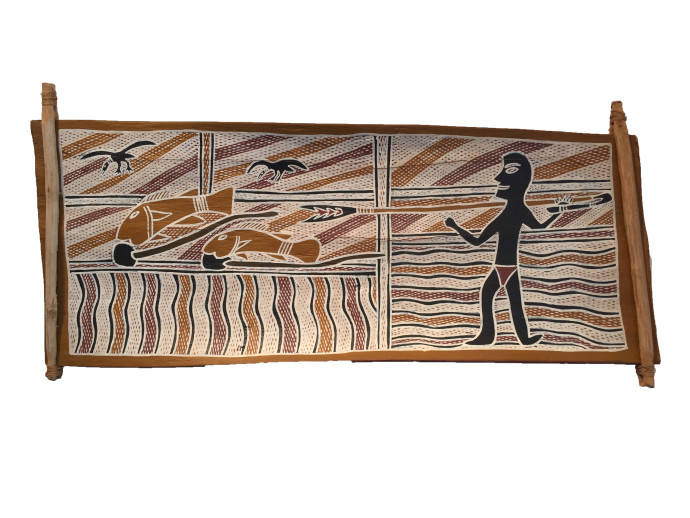 <div class=&#34;artist&#34;><strong>Djambawa Marawili</strong></div> (c. 1953 - ) Yirrkala, Northern Territory<div class=&#34;title&#34;><em>Burruttji in a Billabong</em></div><div class=&#34;medium&#34;>ochre on bark</div><div class=&#34;dimensions&#34;>71 x 33 cm (dimensions variable)<br>28 x 13 in</div>