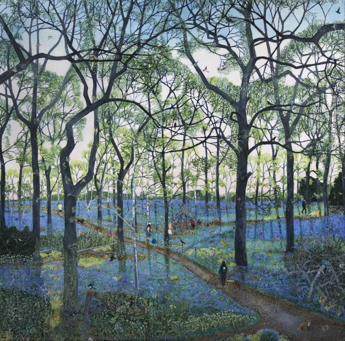 <span class=&#34;title_and_year&#34;><em>Bluebell Wood</em>, 2016<span class=&#34;title_and_year_comma&#34;>, </span></span><span class=&#34;medium&#34;>oil on canvas<span class=&#34;medium_comma&#34;>, </span></span><span class=&#34;dimensions&#34;>150 x 150 cm<br/> 59 1/8 x 59 1/8 in</span>