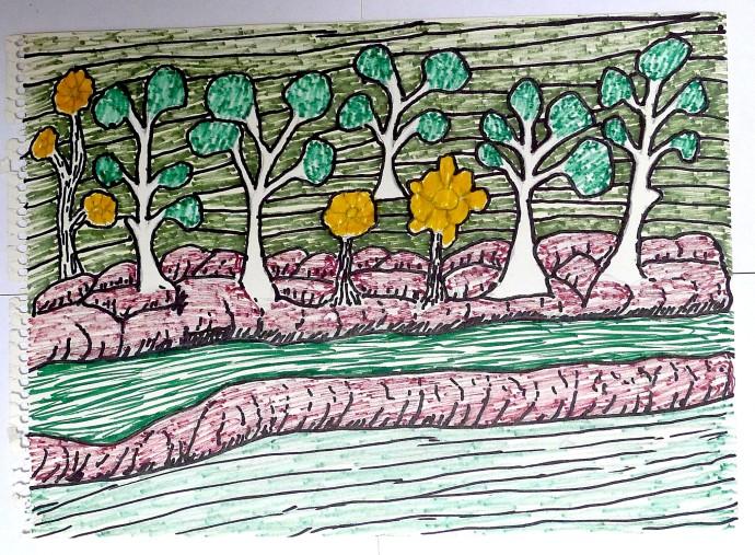 Jimmy Pike, Trees growing along a creek bank