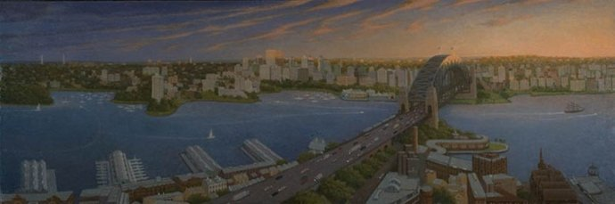 Robert Brownhall, Dawn Clouds over Sydney Harbour