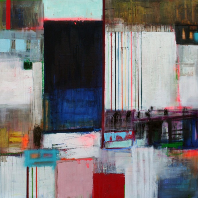 <span class=&#34;title_and_year&#34;><em>Surrounded G</em>, 2015<span class=&#34;title_and_year_comma&#34;>, </span></span><span class=&#34;medium&#34;>oil and spray paint on linen<span class=&#34;medium_comma&#34;>, </span></span><span class=&#34;dimensions&#34;>150 x 150 cm</span>
