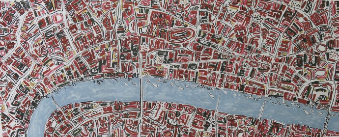 <span class=&#34;title_and_year&#34;><em>Brick Red London With Gold</em>, 2015<span class=&#34;title_and_year_comma&#34;>, </span></span><span class=&#34;medium&#34;>ink and oil on hand-made paper<span class=&#34;medium_comma&#34;>, </span></span><span class=&#34;dimensions&#34;>80 x 200 cm</span>