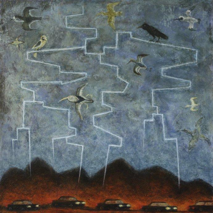 Alasdair Wallace, Bird Perch in Lightning, 2011