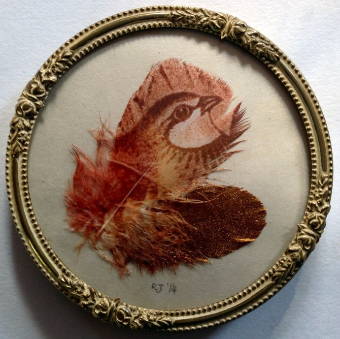 Rebecca Jewell, Partridge and Gold Feather in Vintage Frame, 2014
